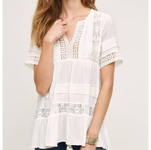 Anthropologie Maeve Tiered Lace Tunic